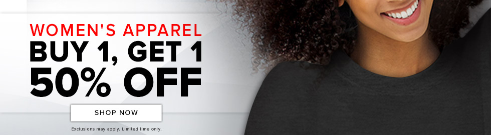 Picture of a woman. Women's apparel buy 1, get 1 50 percent off. Exclusions may apply. Limited time only. Click to shop now.